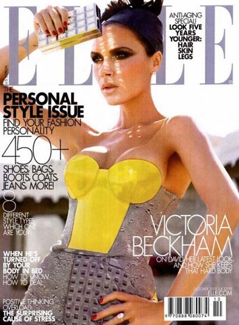 Victoria Beckham graces the cover of the October 2009 issue of Elle magazine