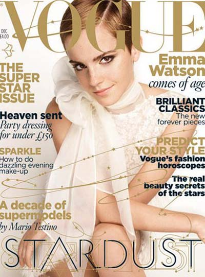 Harry Potter star Emma Watson graces Vogue Magazine December 2010 cover