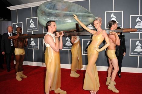 Singer Lady Gaga arrived at the 53rd Grammys in a giant egg.