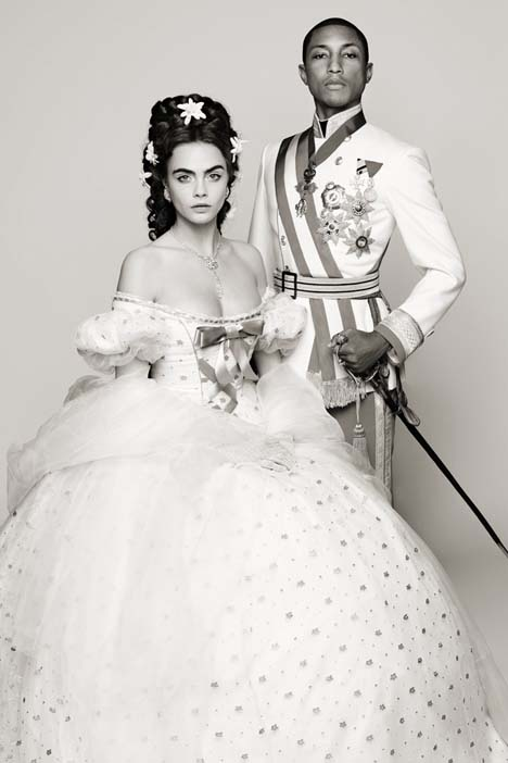 "Cara Delevingne and Pharrell Williams in costume for ""Reincarnation"" Photo by Karl Lagerfeld."